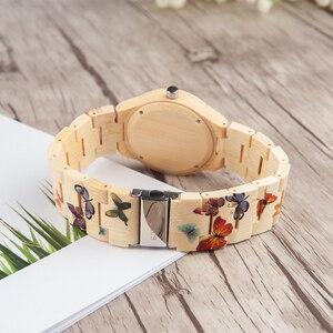 Image 5 - بوبو الطيور ساعة من خشب الخيزران المرأة مصمم الطباعة حركة الكوارتز الخيزران حزام السيدات ساعة اليد B O20