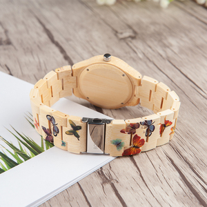 Image 5 - BOBO BIRD Bamboo Watch Women Designer Printing Quartz Movement Bamboo Strap Ladies Wristwatch B O20