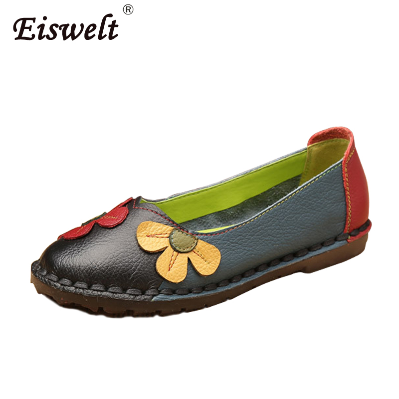 EISWELT Autumn Fashion Flower Design Round Toe Mix Color Flat Shoes Vintage Genuine Leather Women Flats Girl Causal Women Flats