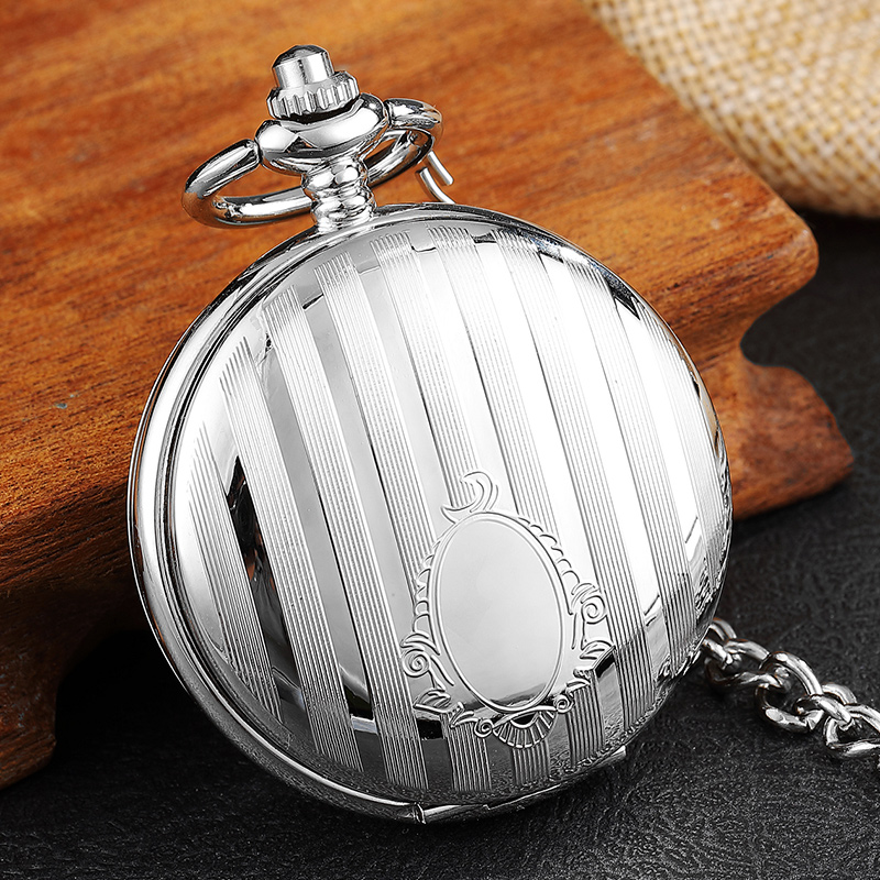 Luxury Silver Stripe Carved Vintage Mechanical Pocket Watch Double Side Hand Wind Men Women Skeleton Steampunk Chain Fob Watches