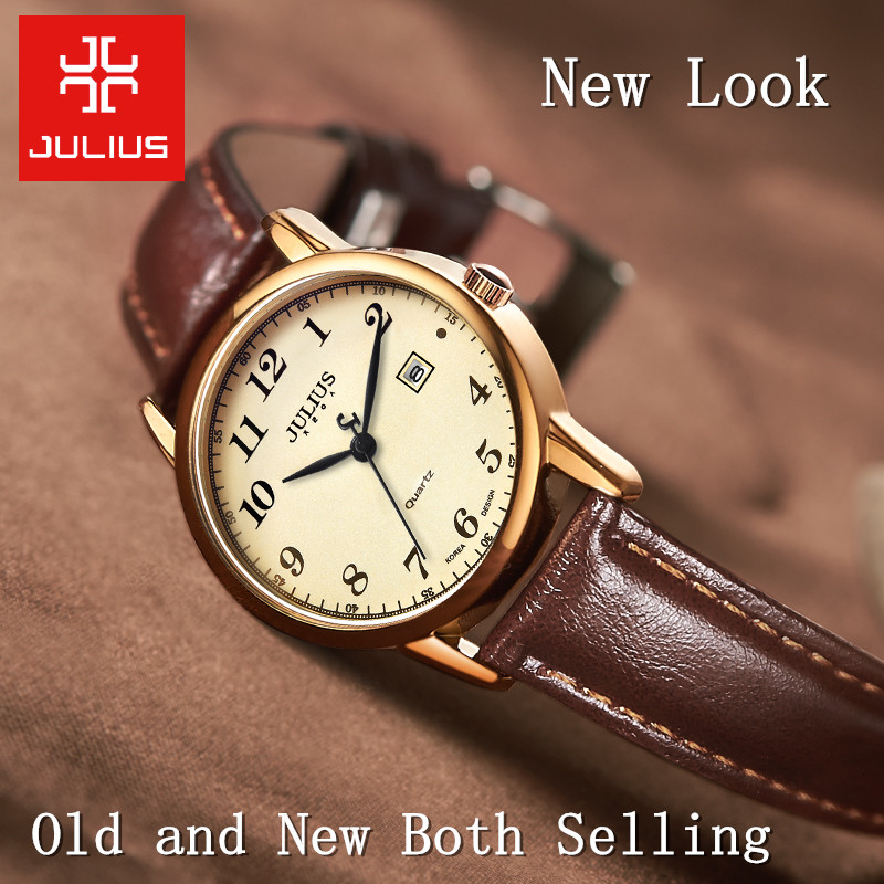 Image 3 - Top Julius Women's Watch Japan Quartz Hours Auto Date Fine Fashion Woman Clock Real Leather Strap Girl's Retro Birthday Gift Box-in Women's Watches from Watches