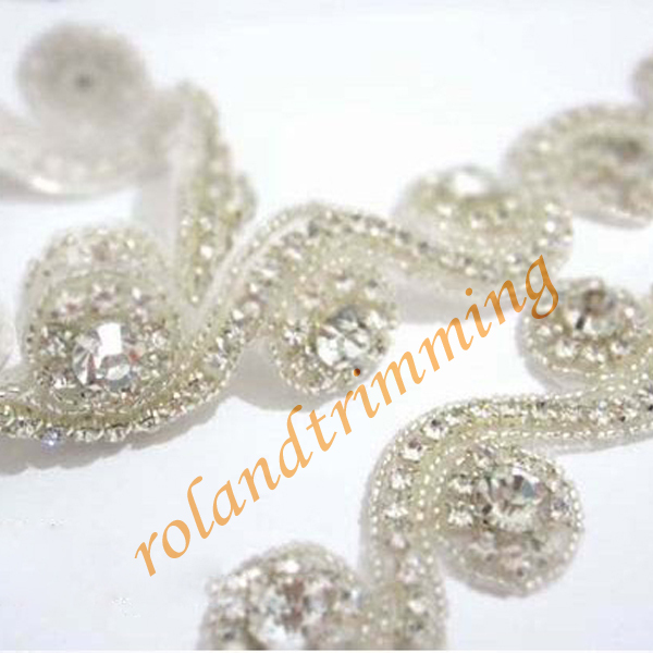 Free Shiipping 2017 New Bling Rhinestone Beaded Bridal Trims Lace For Dresses Ray46 Trim