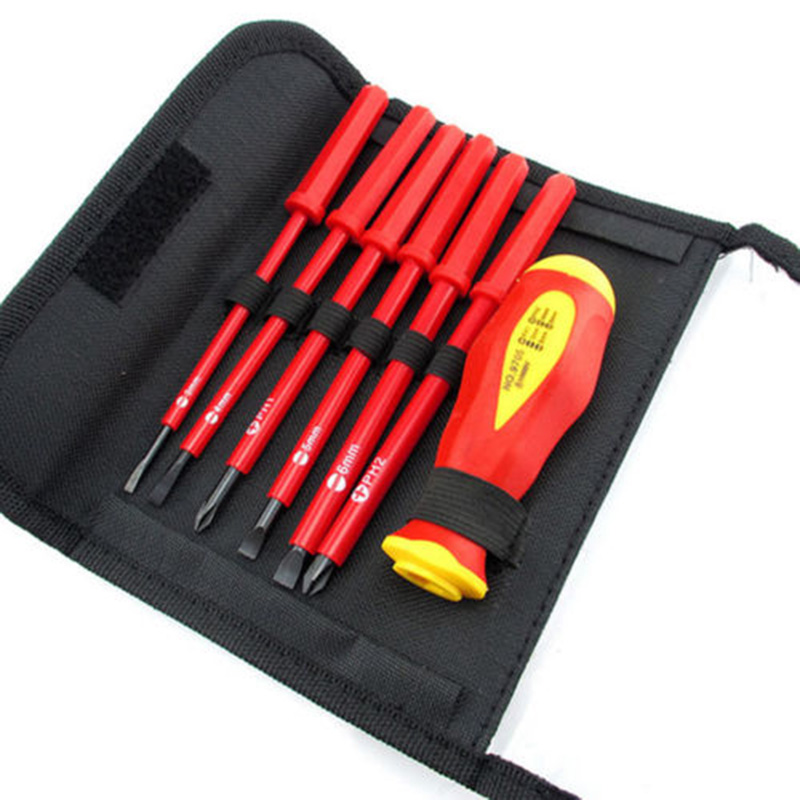 7PCS/set Electricians Screwdriver Hand Tool Set Electrical Fully Insulated High Voltage Multi Screw Head Type