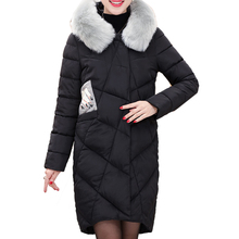 New Winter Long Cotton Down Jacket for Women Big Fur Hooded Long Parka Thicken Warm Outerwear Coat Female Abrigos Mujer YC745