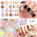 Candy Lover 12pcs/box Mixed Nail Art Glitter Powder Colorful Sequins Fashion Effect Makeup Glitter Nail Powder Glitter Sequin