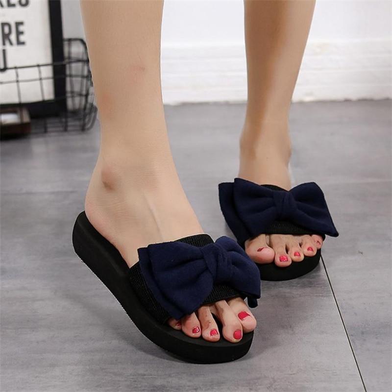 408323692eca5 ... flip flops sandals girls Women Bow Summer Sandals Slipper Indoor  Outdoor Flip-flops Beach Shoes ...