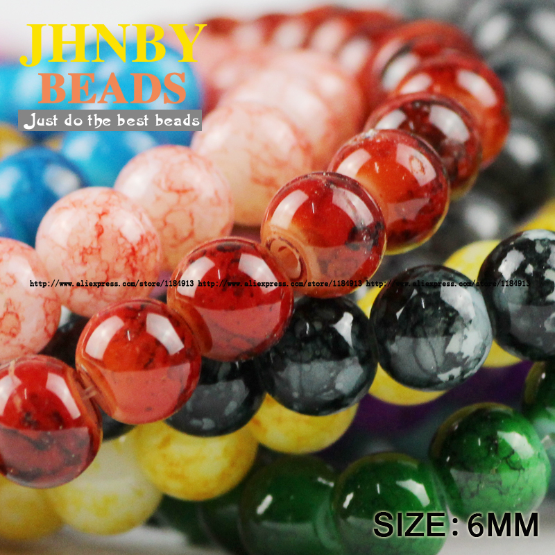 JHNBY Flowering glass beads 6MM 200pcs Top quality Loose Beads Round Assorted Colorful ball for Jewelry Bracelet making DIY