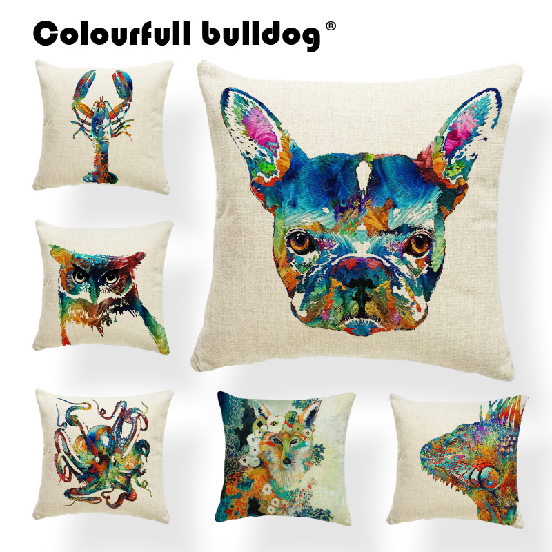 Colorful Oil Painting Monkey Owl Bear Dog Pillow Case Octopus Giraffe Cushion Covers French Bulldog Throw Pillows Children Decor