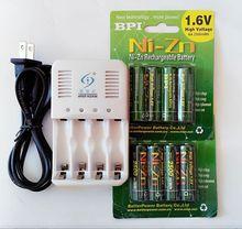 Nuevo 8 Unids 2500 MW H NI Zn 1.6VA Una batería recargable baterías 2 * CAJA de LA BATERÍA + 4 puertos cargador inteligente de baterías de NiMH NI-Zn AAAAA
