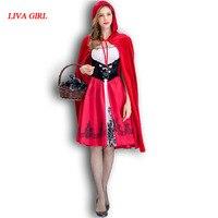 2017 Nieuwe Volwassenen Fee Prinses Kostuum Vrouwen Lady Rode Hoed Cosplay Kostuums Halloween Carnaval Feestjurk Decoratie