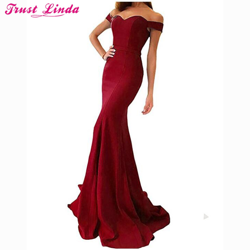 Sexy Sweetheart Cap Sleeve Burgundy Mermaid   Bridesmaid     Dresses   Simple Long Prom Gowns Bridal Party Wear   Dress   2018 Custom Made