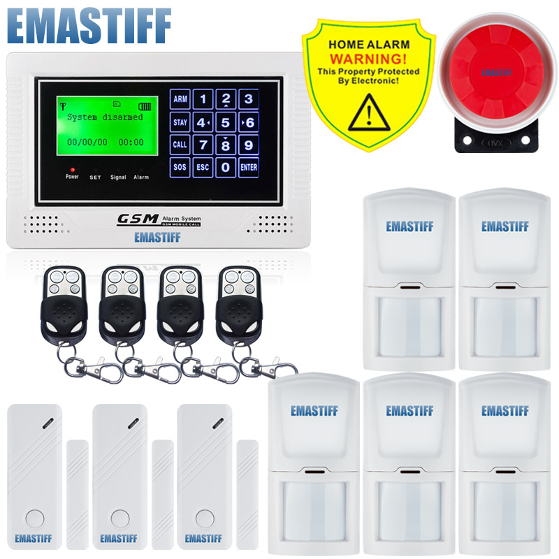 High quality Intercom home Security Wireless GSM SMS Alarm System Quad Bnd 850/900/1800/1900MHZ + 4 wired and 10 wireless zones 100 wireless 4 wired lcd screen quad band support home gsm sms security alarm system