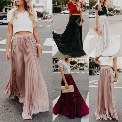 2019 Fashion New Women Solid Retro Stretch High Waist Long Skirts Skater Flared Pleated Swing A Line Skirt