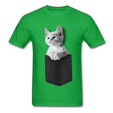 Cute Pocket Kitten Green Tshirts 100% Cotton Men Short Sleeve Tops Tees NEW YEAR DAY High Quality Sweatshirt Summer T Shirts