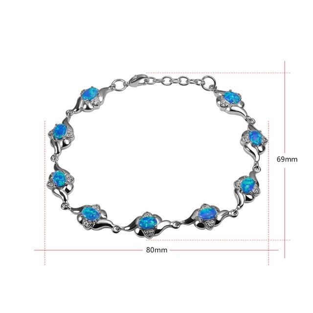 Opale de feu bleue 925 argent Sterling beau Bracelet P339