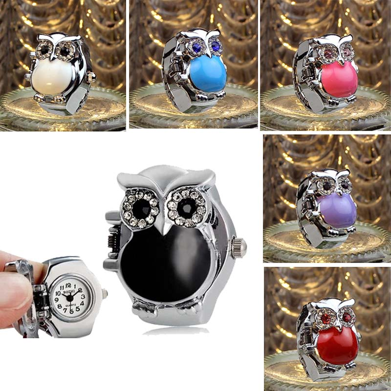SmileOMG New Hot Creative Fashion Retro Owl Finger font b Watch b font Clamshell Ring font