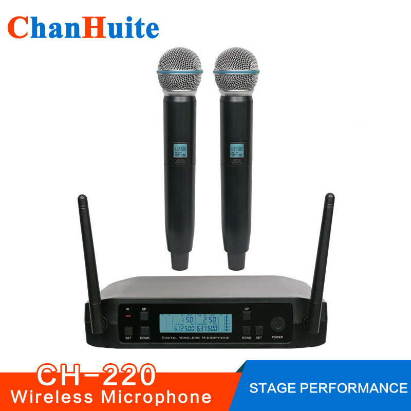 Dual Handheld Wireless Microphone System UHF Frequencies Adjustable Professional Cordless Mic 2 Channels for Karaoke Live