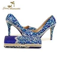Пользовательские Дизайн синий смешанная Цвет со стразами свадебные туфли с сумочкой 4 дюйм(ов) высокий каблук Золушка туфли лодочки на выпу