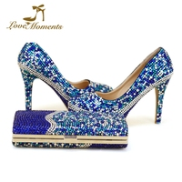 Custom Design Blue Mixed Color Rhinestone Wedding Shoes with Purse 4 Inches High Heel Cinderella Prom Party Pumps with Clutch