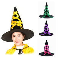 1pc Pointed Toe Witch Hat With Flannelette Ribbon Great Quality Halloween Party Supplies Cosplay Gift Nice