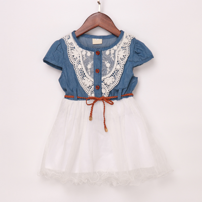 83f6ca60fca5f Fashion Girls Kids Princess Flower Lace Denim Tulle tutu Dress Lolita  Patchwork with Belt Summer Dress Children Colothing-in Dresses from Mother  & ...