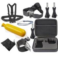 For Gopro Wrist Head Chest Strap+Bag+Floating Bobber Grip Mount+Case For Go pro Hero 3 4 Hero4 Hero3 Xiaomi Yi Sj5000 Sj4000
