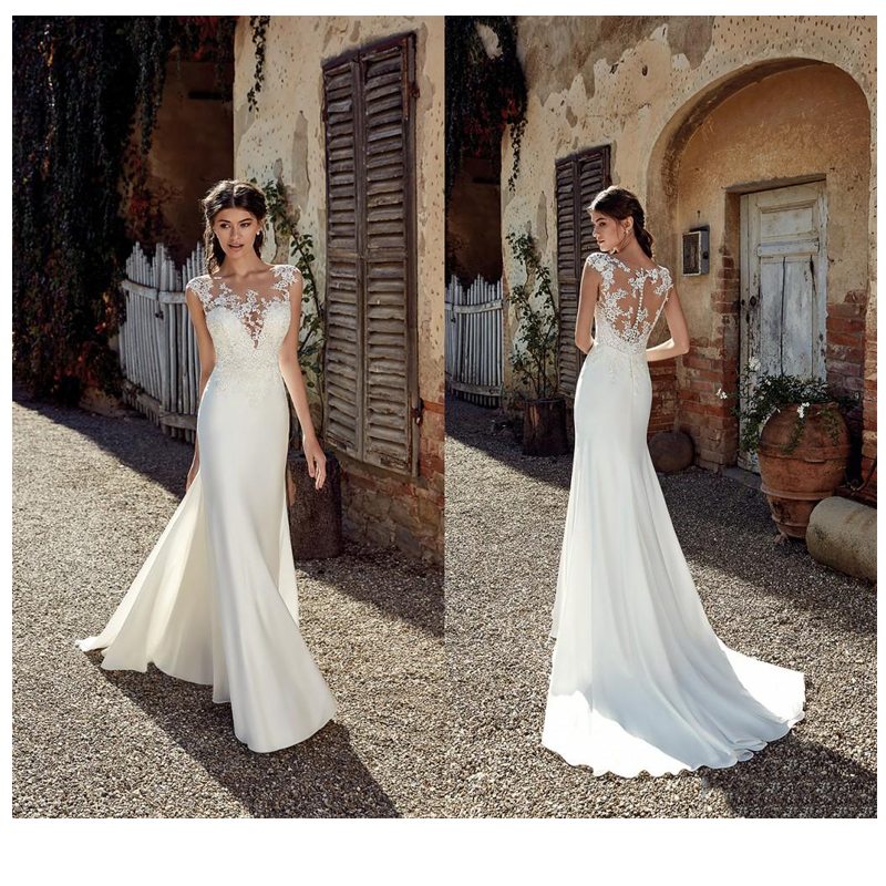 Sexy Sleeveless See Through Neck Appliqued Lace Wedding Dresses 2019 Mermaid Train Illusion Bridal Gown Dress White Ivory image