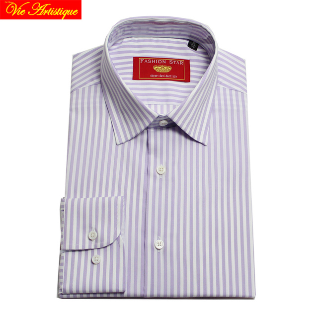 ba54aa68fc camisa masculina men's long sleeve purple white striped dress shirts male  tailored 6789 XL business office