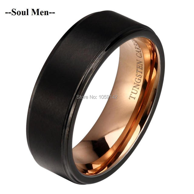 2016 Newest 8mm Black Tungsten Wedding Band Ring for Women Men Rose Gold Interior Bridal Jewelry Brushed & Step Polish Edges