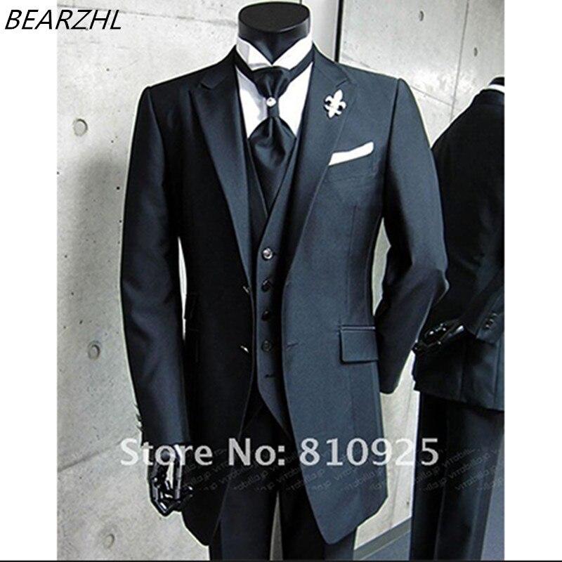 2016 на заказ костюмы мужчин смокинг жениха высокого качества комплект из 3 вещей