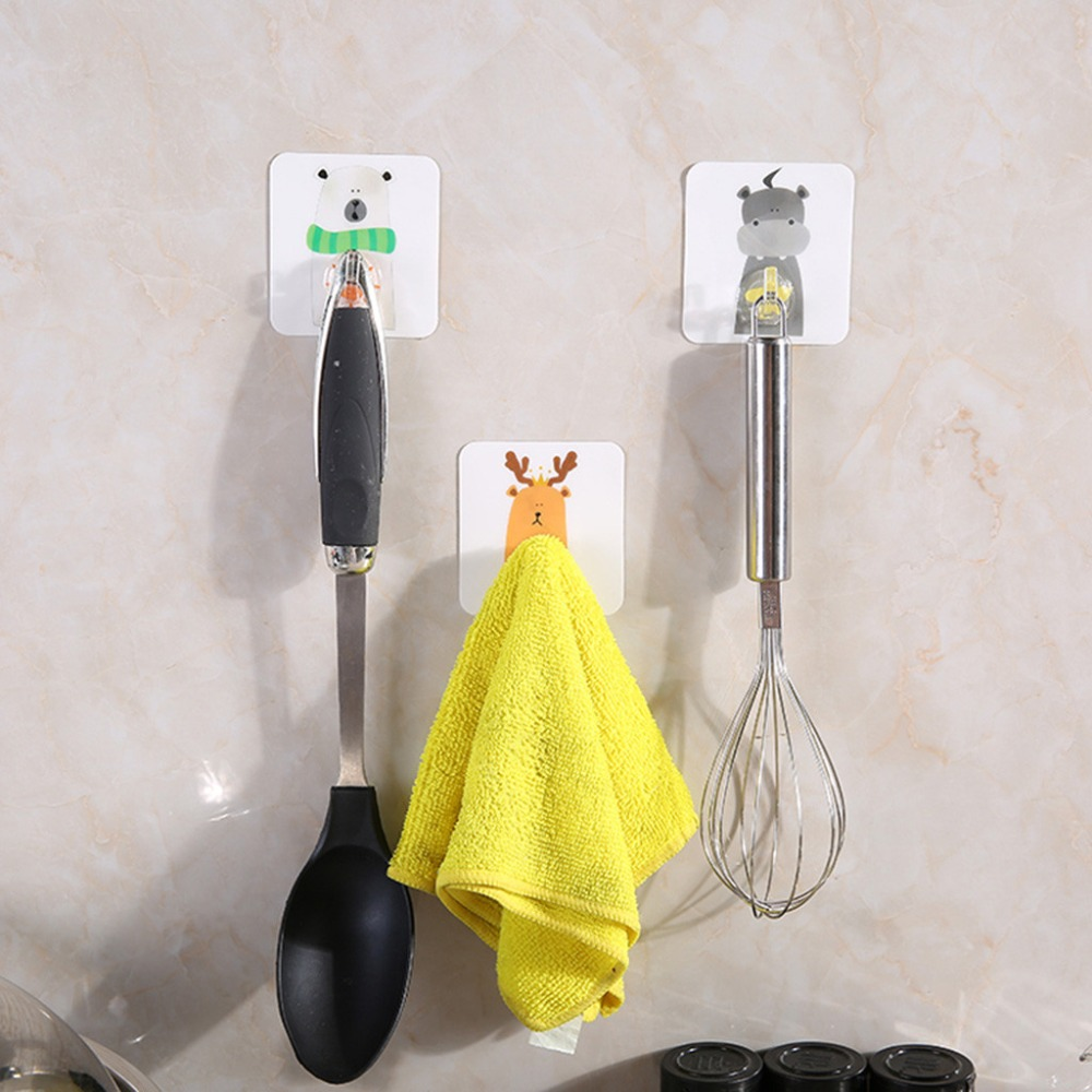 1Pcs Strong Home Kitchen Hooks Transparent Suction Cup Sucker Cartoon Animal Wall Hooks Hanger Wholesale Price #F
