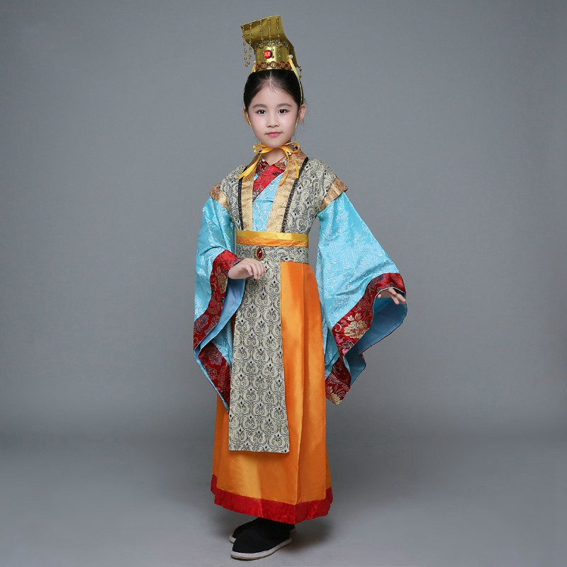 Children Tang Dynasty Costume Male Chinese Hanfu Clothing for Stage Boy Girl Emperor Cosplay Costume Prince Performance Clothing black and coffee 2 colors hair tiara ancient chinese emperor or prince costume hair crown piece cosplay use for kids little boy