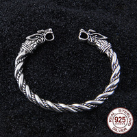 S925 Sterling Silver Viking Wolf Bangle with wood box as gift for men or women