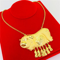Luxury Wedding Jewelry Yellow Gold Filled Cute Animal Pigs Shaped Women Pendant Necklace Bridal Engagement Party Jewelry