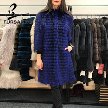 FURSARCAR 2019 New Real Fur Coat Women O-Neck Fashion Winter Natural Genuine Silver Fox Female Luxury Long Jacket
