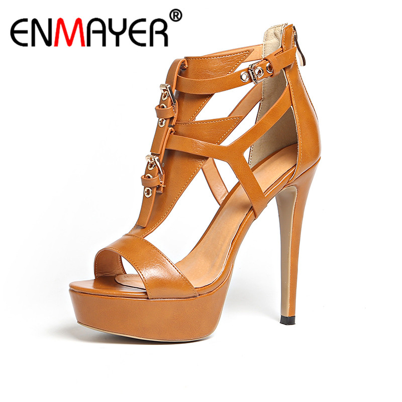 ENMAYER Summer Women Fashion Casual Sandals Pumps Shoes Peep Toe Buckle Strap Zip Thin Heels Platform Large Size 34-43 Brown