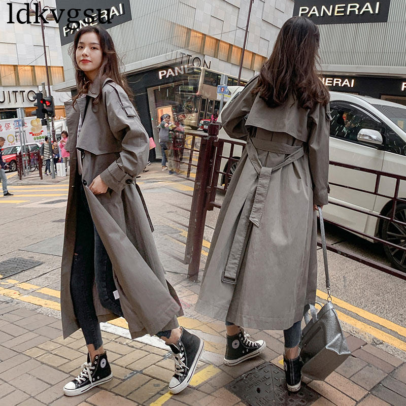 2019 new Casual Windbreaker Female Long section Korean Spring Autumn Double-breasted belt   Trench   Coats for Women Overcoats V424