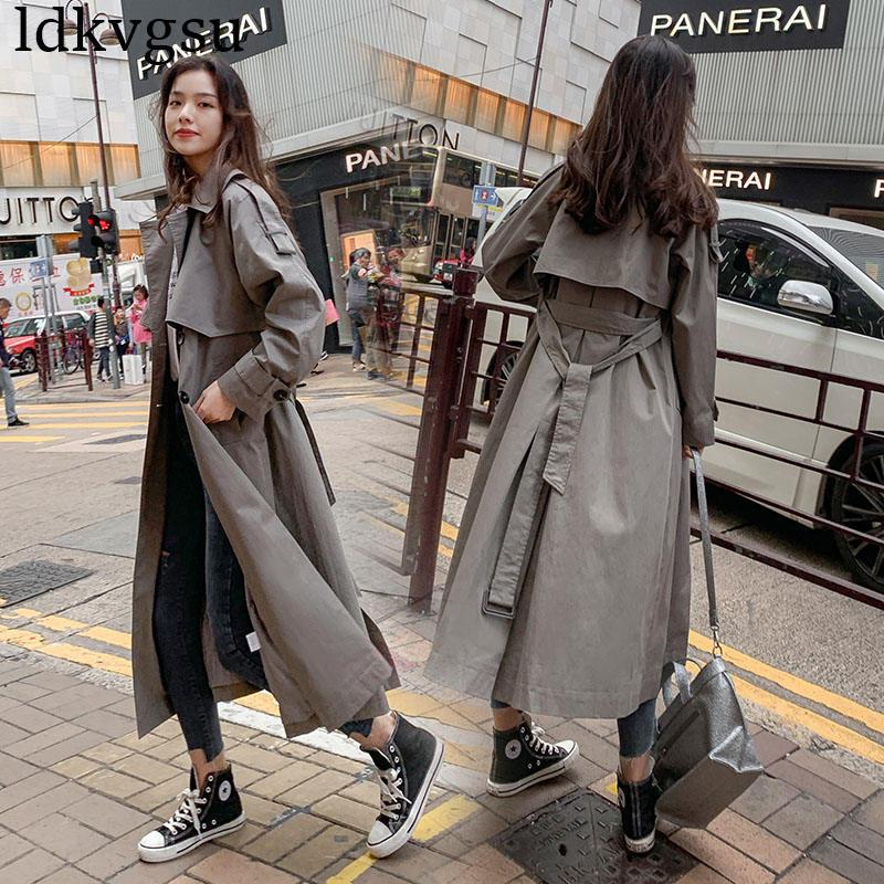 Kadın Giyim'ten Siper'de 2019 yeni Rahat Rüzgarlık Kadın Uzun bölüm Kore Ilkbahar Sonbahar Kruvaze kemer trençkotlar için Kadın Paltolar V424'da  Grup 1
