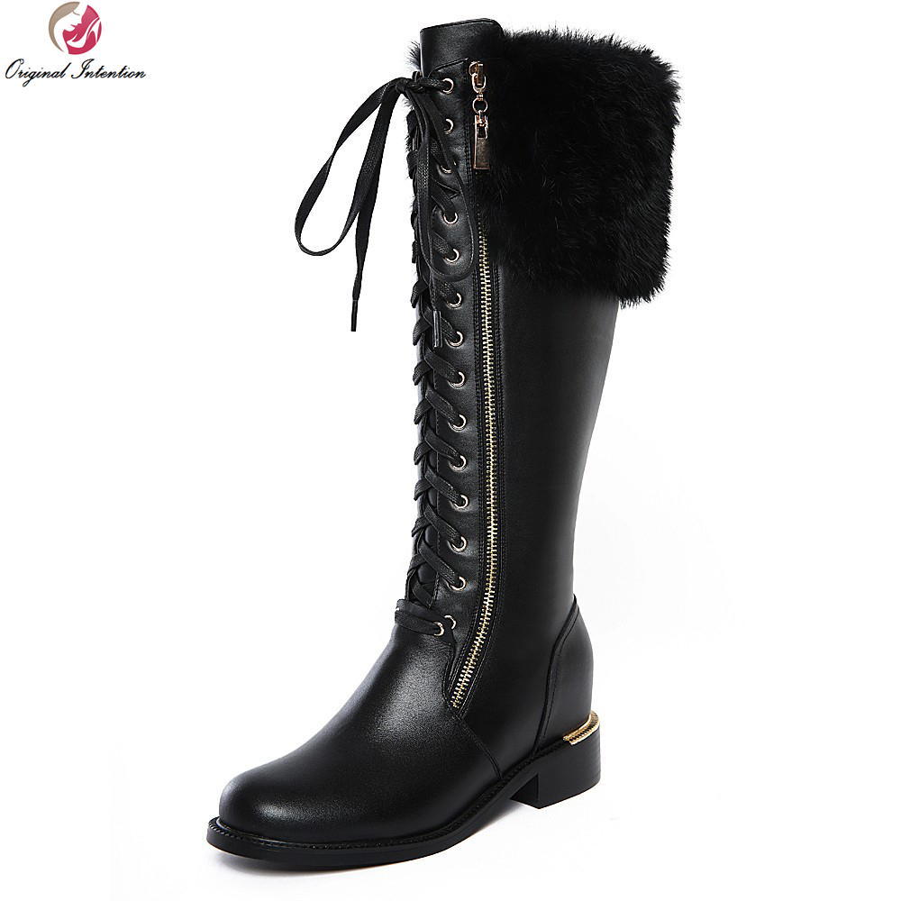 Original Intention Elegant Women Knee High Boots Round Toe Height Increasing Boots High-quality Black Shoes Woman US Size 4-10 new stylish women mid calf boots fashion round toe height increasing boots beautiful black brown red shoes woman us size 4 10 5