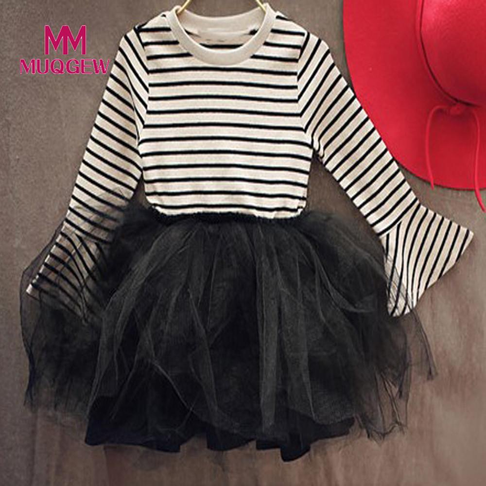 2018 new spring fashion children dress Toddler Kids Girls Striped Gauze Princess Dress Long Sleeve chidren Dress vestido das