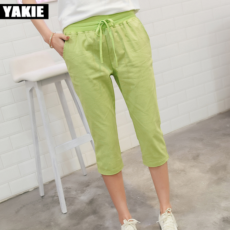 2017 Linen   Pants   Summer Women Calf Length Harem   Pants   Colorful Casual Elastic Waist   Pants     Capris   Trousers Plus Size 4XL 5XL