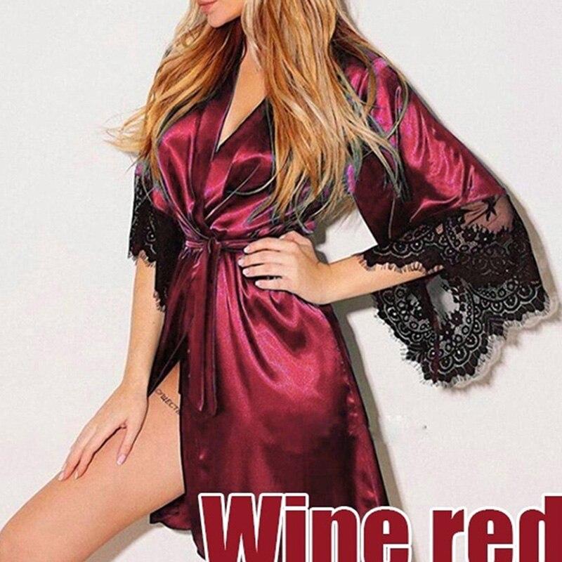 Bigsweety Plus Size Spring Sleepwear Women Sexy Silk Dress Lace Lingerie With Belt Bath Robe Nightwear Female Robes Homewear