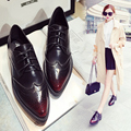 British style Fashion Women shoes Pointed Toe Lace-Up Brogue Shoes Split Leather Vintage Flats Oxfords shoes Loafers 1.9