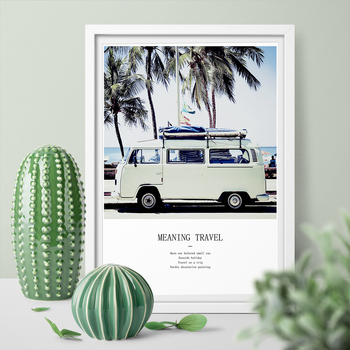 A Hd Printed Wall Picture Vw Camper Blue Bus Wall Art Canvas Painting Palm Tree Art Print Poster Home Decor No Frame image