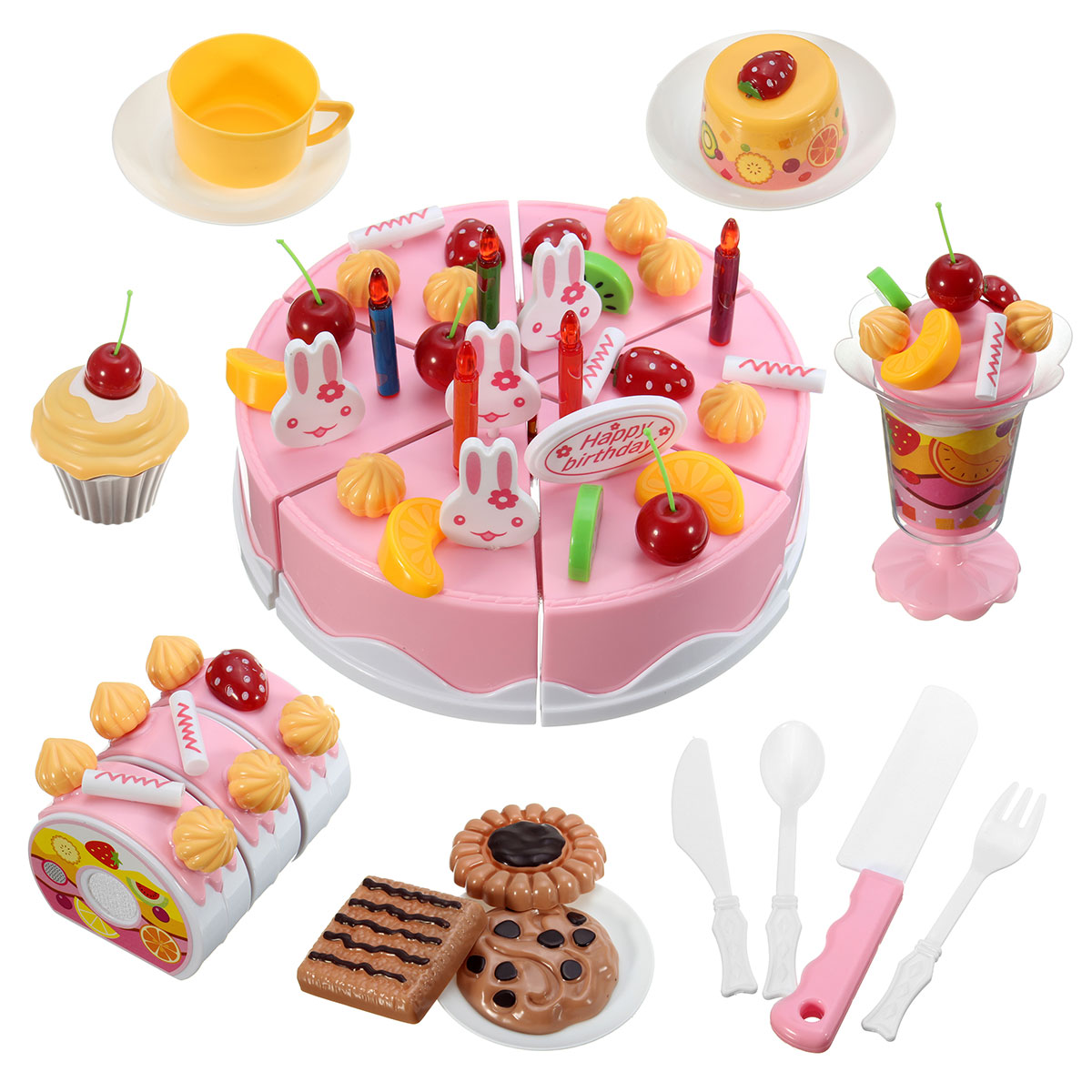 Miniature Kitchen Sets Toy Pretend Play Pink Cutting Birthday Cake