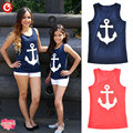 2017 Casual Sleeveless Mother Daugther Tees Top for Family Matching Look Clothes Women Kids Girl Anchor Printed T Shirt Clothing