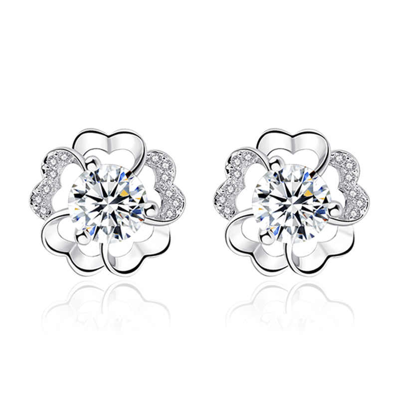High Quality Never Fade Plum Flower Zircon 925 Earrings For Baby Girls Women Party Stud Earring Jewelry