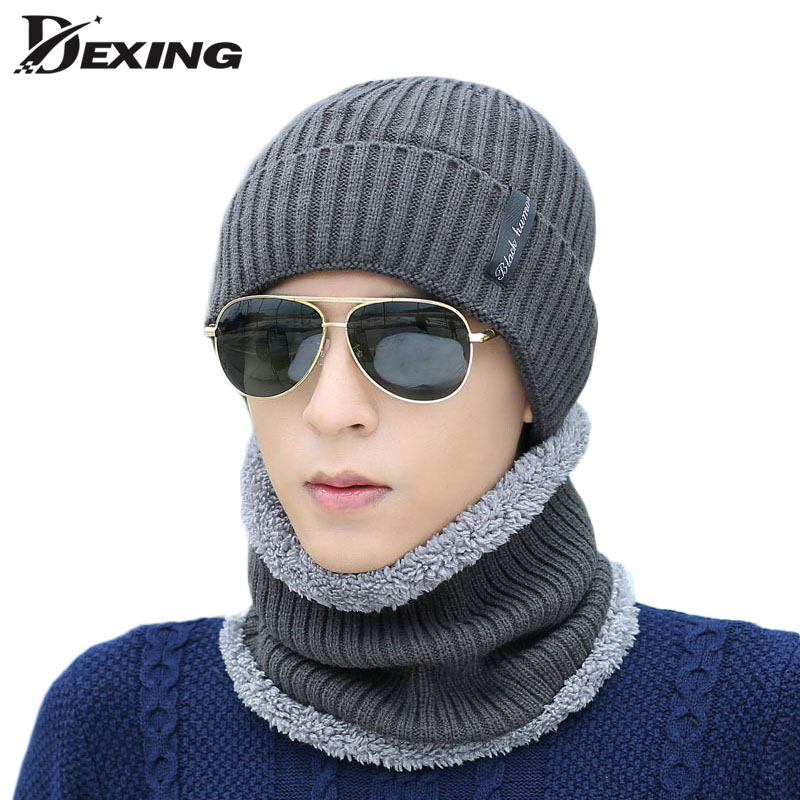 Winter Beanie  Men Women Fashion Solid Fur Wool Lining Thick Warm Knit Winter Hat Cap Ski Scarf Sets Skullies Bonnet Scarf Sets autumn winter male hat plus velvet thick knitted wool hat scarf set men warm beanie fashion snow earflaps plush collar cap sets