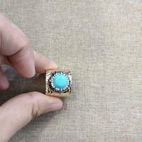 YNB Adjustable Copper Rings with Nature Stone, Unisex Rings for Women Mens Vintage Jewelry with Box