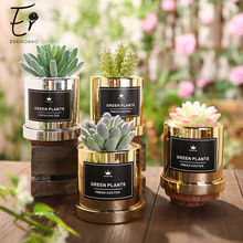 Erxiaobao Luxurious Simulation Succulents Mini Bonsai Potted Green Cactus Artificial Plants with Pot Placed Decoration
